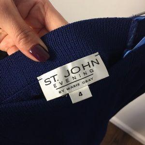 ST. JOHN EVENING Santana Knit blue long maxi skirt